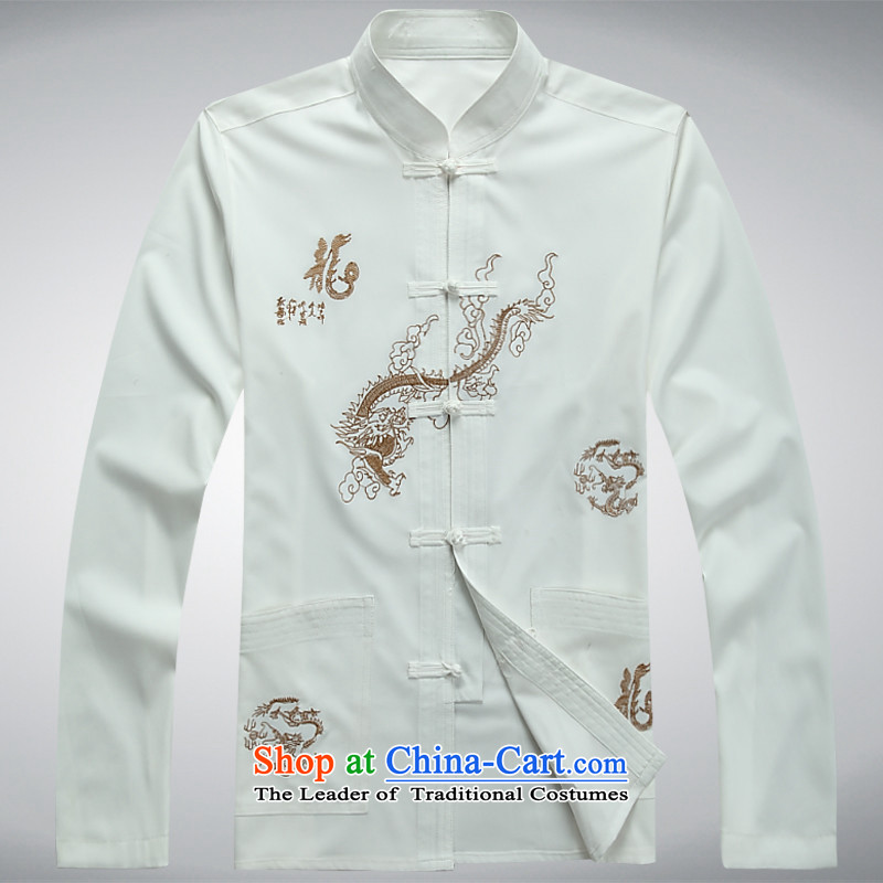 Kyung-ho covered by JOE HOHAM men married to groom load Chinese Men's Mock-Neck Tang dynasty costume hi-white shirt聽XXL
