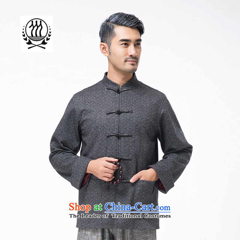 Thre line autumn and winter and new men pure color gross Tang dynasty? long-sleeved sweater of ethnic Chinese collar disc detained Tang blouses father grandfather replacing F7795?L_175 Gray