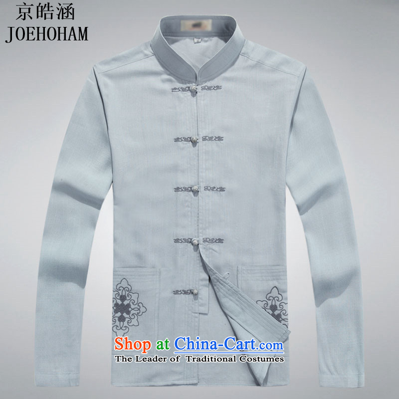 Kyung-ho, in autumn 2015, covered by the elderly men Tang Dynasty Chinese middle-aged long-sleeved Han-Menswear costume gray T-shirt?XL