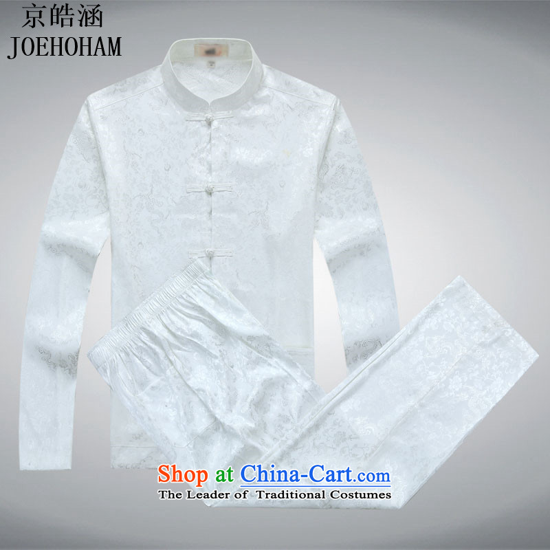 Kyung-ho Tang dynasty and the Spring and Autumn period covered by replacing older ethnic costume costume services cotton linen short-sleeved T-shirt men white kit?S
