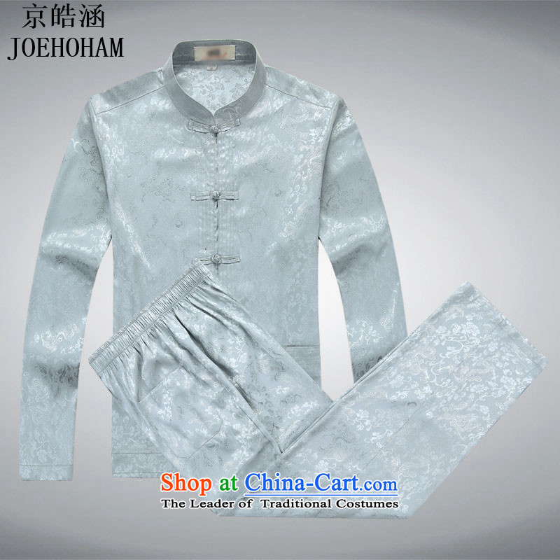 Kyung-ho Tang dynasty and the Spring and Autumn period covered by replacing older ethnic costume costume services cotton linen short-sleeved T-shirt and gray trousers, replacing?L