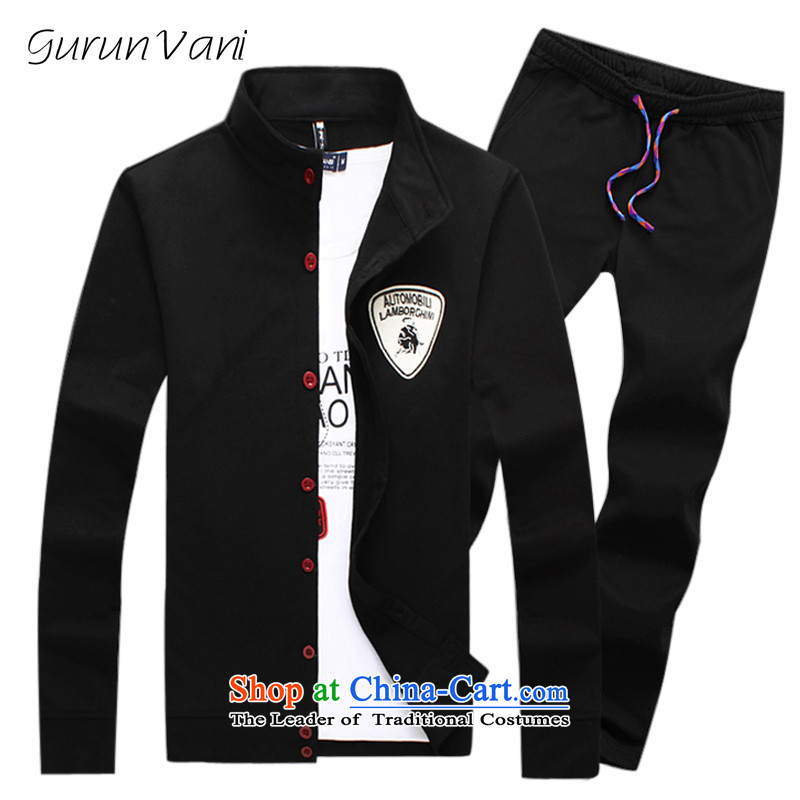 燭he Tang dynasty Chinese tunic gurunvani autumn and winter and autumn 2015 men's stylish leisure wears the larger men�9 plus black velvet + and black trousers燲XL