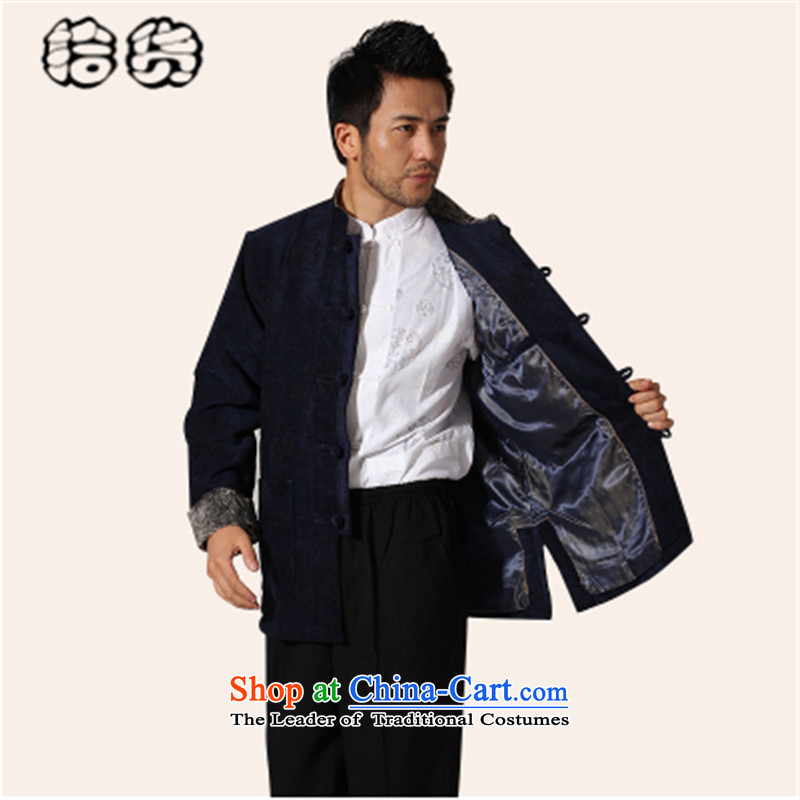 The 2015 autumn and winter pickup ethnic Tang dynasty men corduroy shirt Chinese Han-nation of older men and Dad Tang jacket with XL Blue - corduroy?170