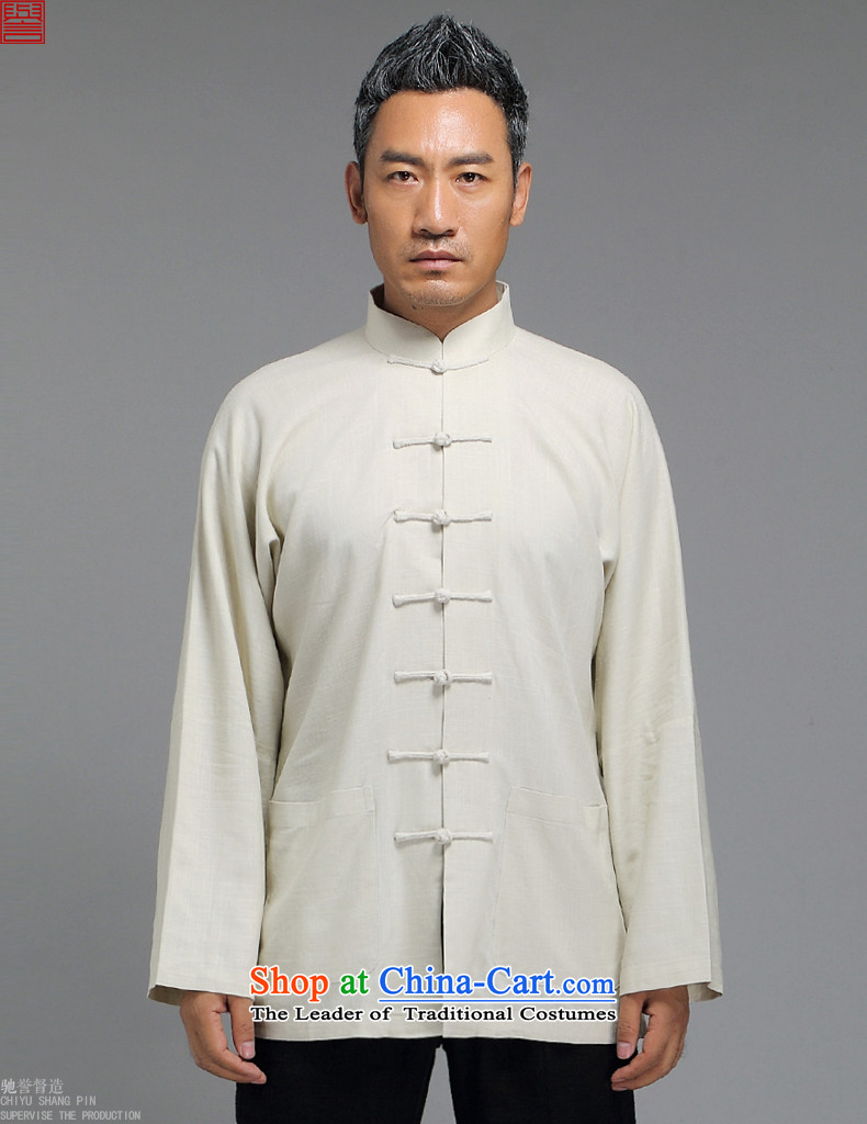 Renowned Tang dynasty male Han-improved Chinese men fall long-sleeved sweater collar China wind men detained shirt White XL Disk Image, prices, brand platters! The elections are supplied in the national character of distribution, so action, buy now enjoy more preferential! As soon as possible.