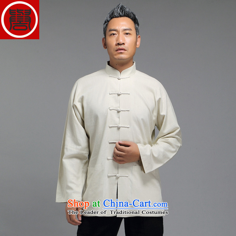 Renowned Tang dynasty male Han-improved Chinese men fall long-sleeved sweater collar China wind men detained shirt White?XL Disk
