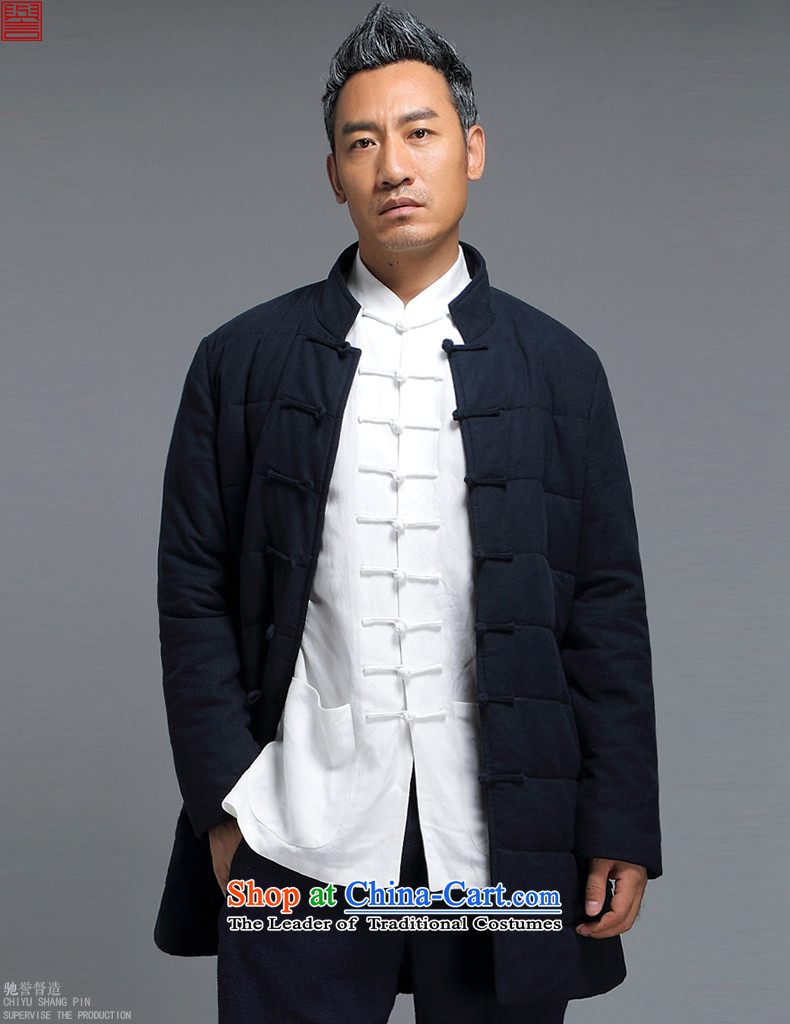 Renowned men Tang Dynasty Chinese tunic loose in the long coat male cotton coat winter China wind-thick cotton in older Chinese men's jackets聽D1816- crisp black聽XXXL robe picture, prices, brand platters! The elections are supplied in the national character of distribution, so action, buy now enjoy more preferential! As soon as possible.