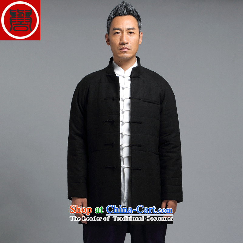 Renowned men Tang Dynasty Chinese tunic loose in the long coat male cotton coat winter China wind-thick cotton in older Chinese men's jackets?D1816- crisp black?XXXL robe