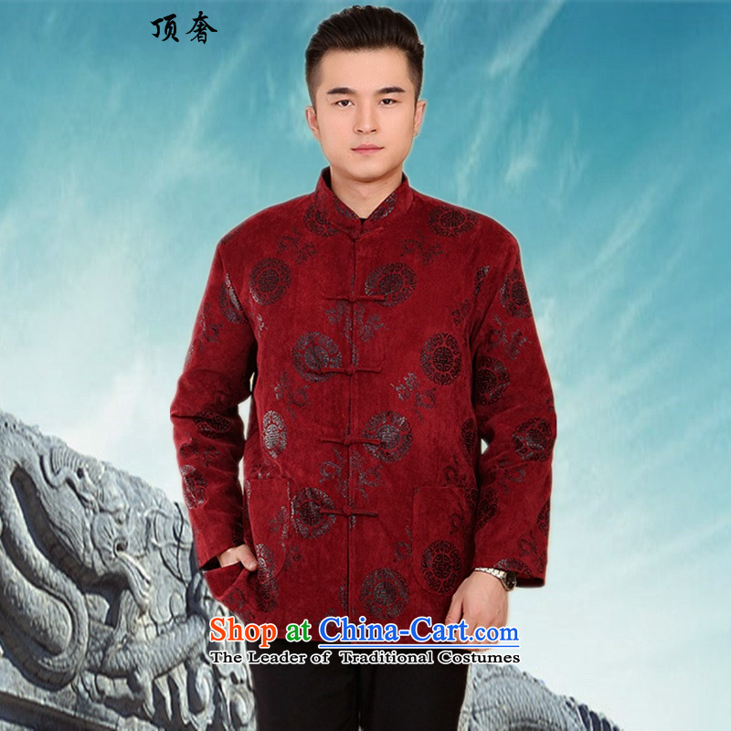 Top Luxury men of autumn and winter jackets in cotton-tang older new shirts robe with Chinese Manual Tray father Han-detained ethnic -2061)?2060#?XL/175 red