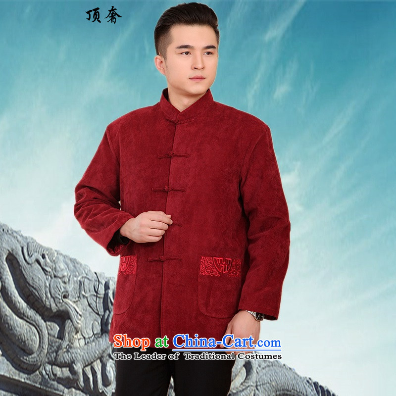 Top Luxury China wind men in Tang Dynasty Chinese Winter older Chinese tunic long-sleeved shirt jacket coat autumn and winter middle-aged men detained disk manually -2062?L/170 XXXL/185)