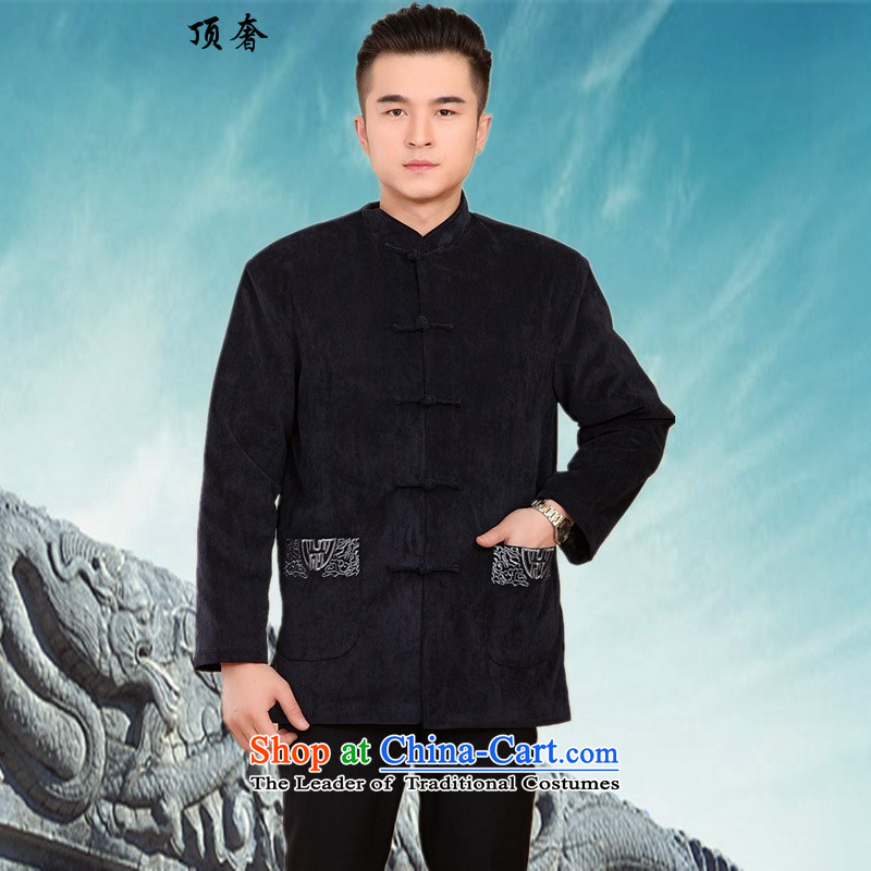 Top Luxury winter_ Older Tang dynasty life too grandpa long-sleeved jacket men cotton coat and national dress Mock-neck tray clip Tang blouses -2059_ 2062_ XL_175 blue
