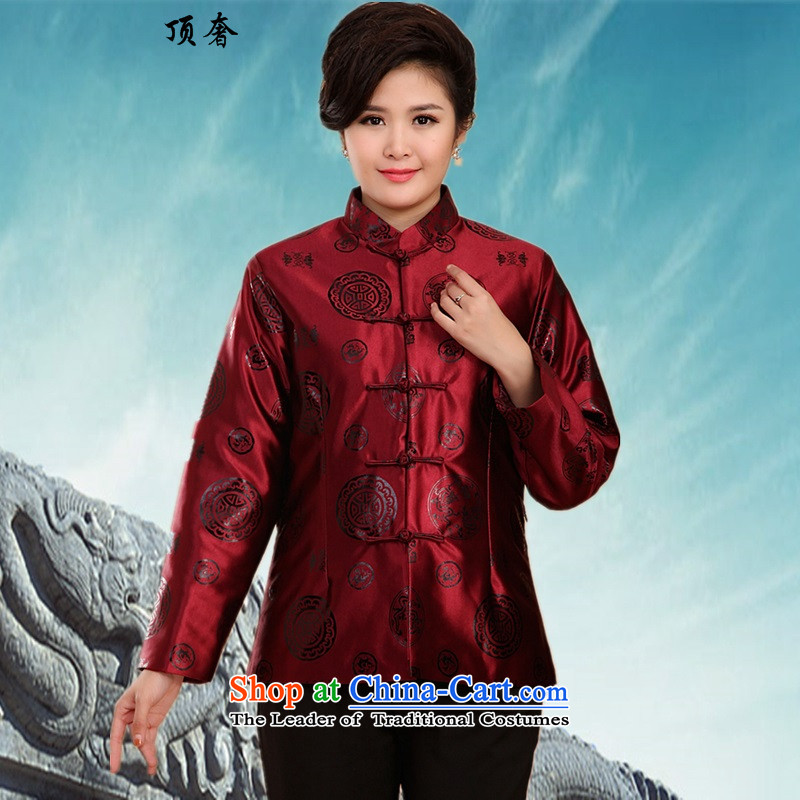 Top luxury in the new elderly couples Tang Dynasty Tang dynasty older men's jackets of older persons and Tang dynasty autumn and winter clothes winter collar cotton coat -2069_ purple shirt female women 3XL