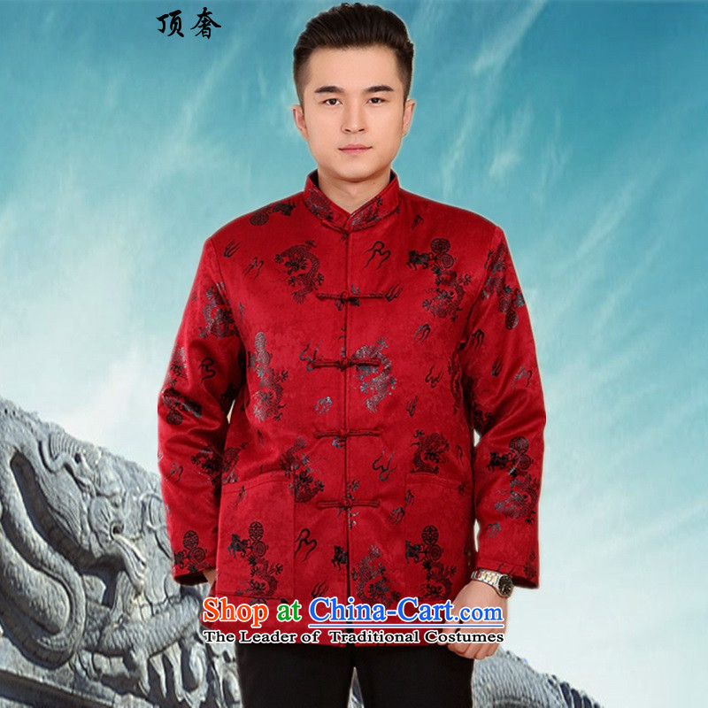 Top Luxury New Fall_Winter Collections of thick cotton-Tang dynasty in older men Large Tang China Wind Jacket collar grandfather Jacket - Satin red聽XXL_180 Dragon_