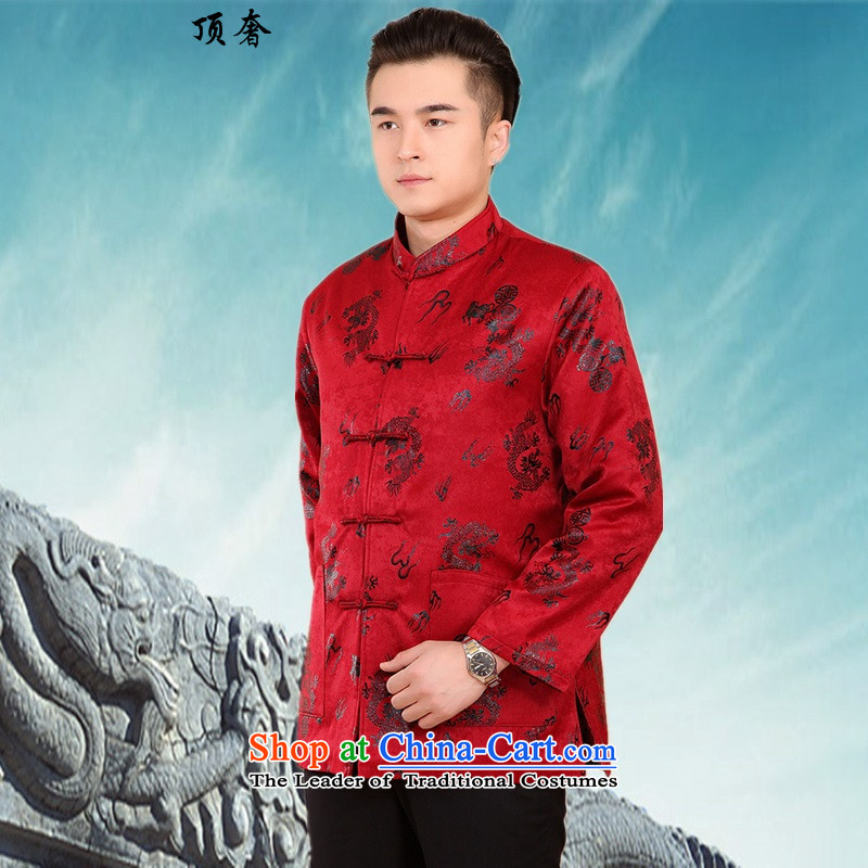 Top Luxury New Fall/Winter Collections of thick cotton-Tang dynasty in older men Large Tang China Wind Jacket collar grandfather Jacket - Satin red聽XXL/180, Dragon, top luxury shopping on the Internet has been pressed.