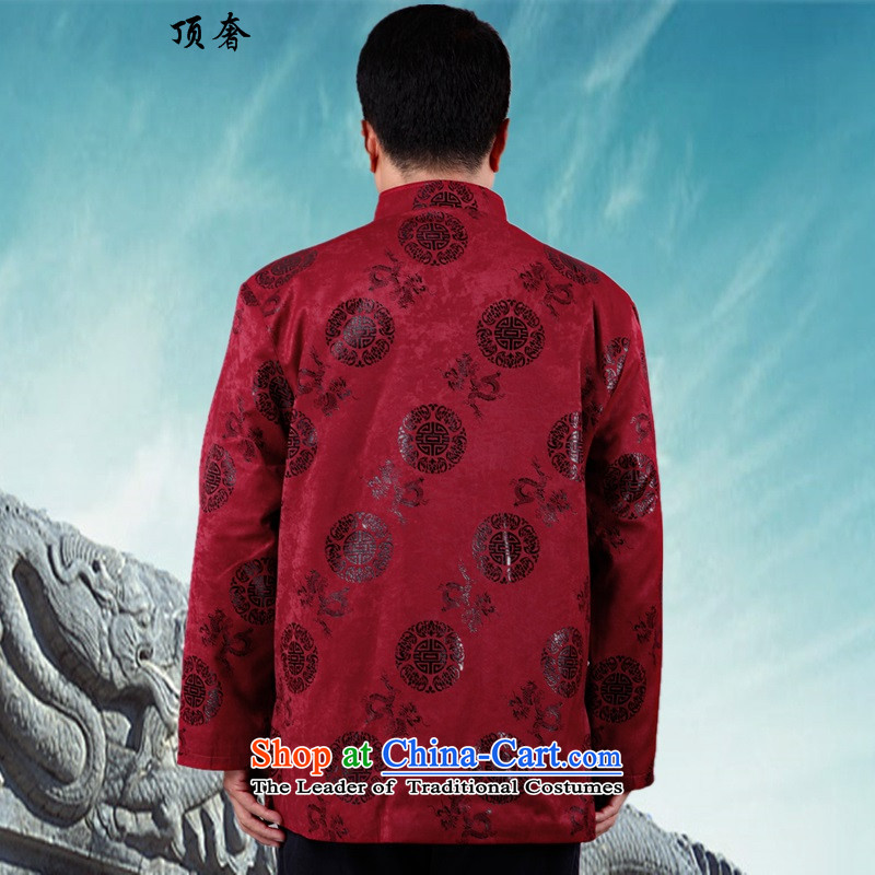 Top Luxury New Fall/Winter Collections of men in older men robe Tang dynasty ãþòâ retro China wind long-sleeved shirt serving Birthday Celebrated male cotton coat jacket L/170, red top luxury shopping on the Internet has been pressed.