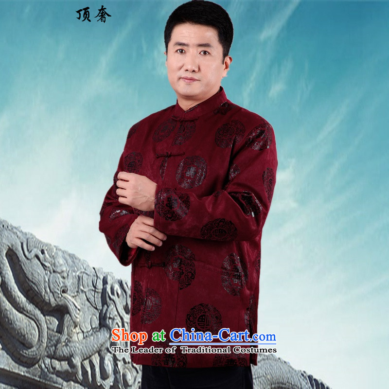 Top Luxury autumn and winter Tang jacket in older Tang add cotton jacket male banquet grandpa replacing Tang dynasty China wind collar shou ring tray clip cotton fuchsia manually聽XL/175, top luxury shopping on the Internet has been pressed.