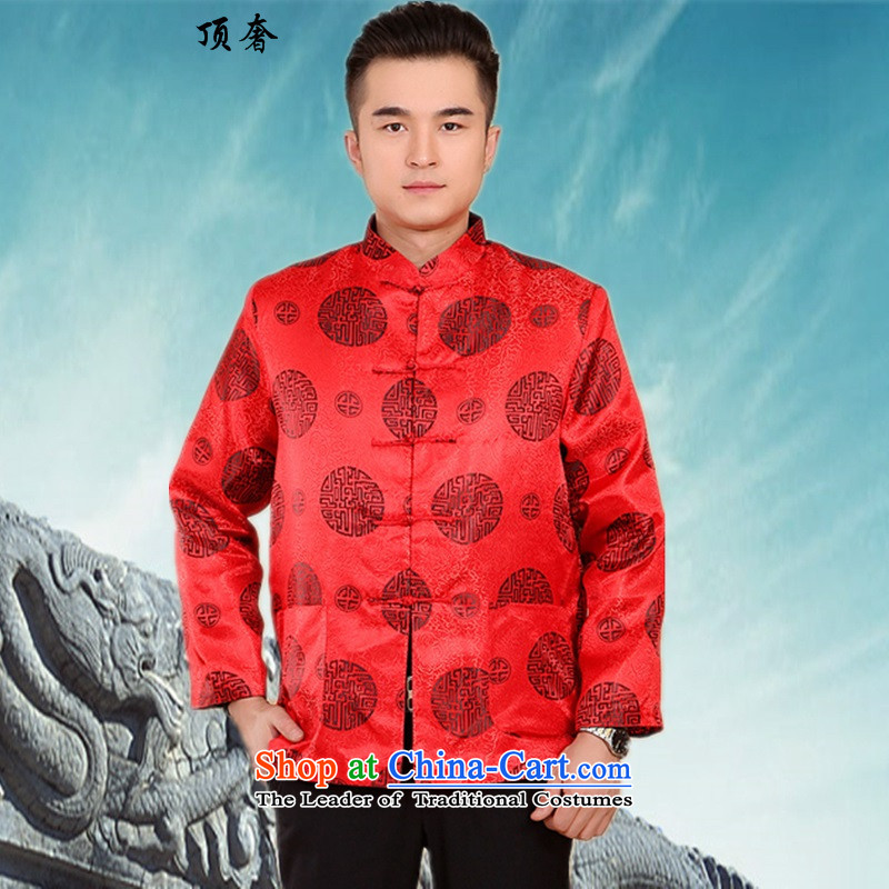 Top Luxury new men in Tang Dynasty older birthday cotton coat Chinese cotton autumn and winter coats collar thick long-sleeved shirt father mounted - Daikin?4XL/190 Red Ring