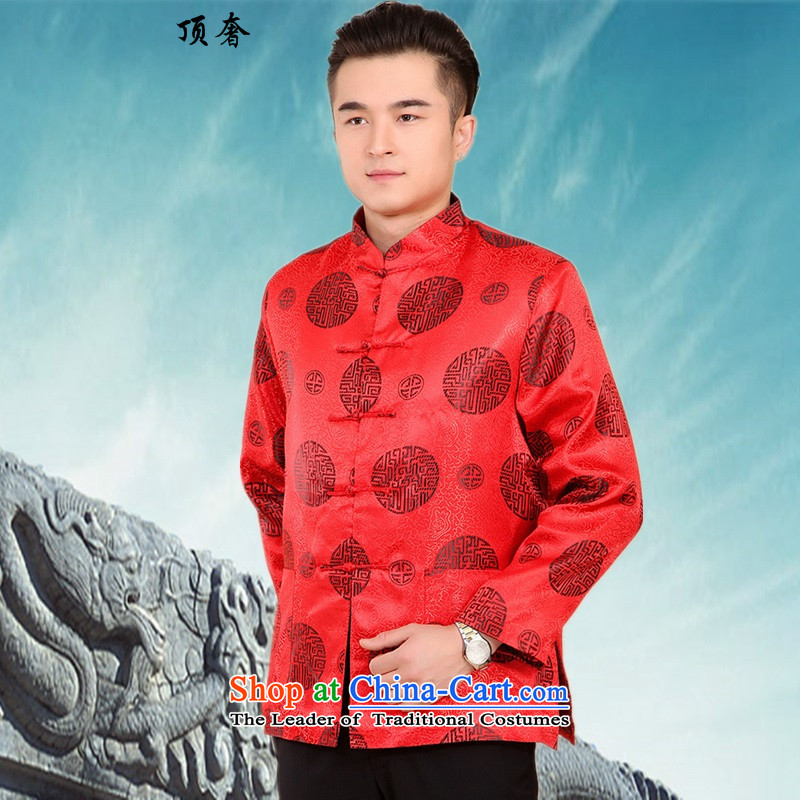 Top Luxury new men in Tang Dynasty older birthday cotton coat Chinese cotton autumn and winter coats collar thick long-sleeved shirt father mounted - Red Ring聽4XL/190, Daikin top luxury shopping on the Internet has been pressed.