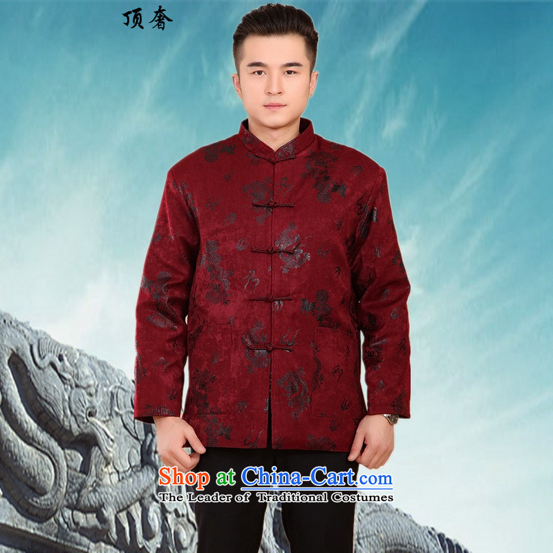 Top Luxury New Fall/Winter Collections of thick cotton-Tang dynasty in older men Large Tang Jacket China Wind Jacket - Men's grandfather satin dragon, A Magenta?XXL/180