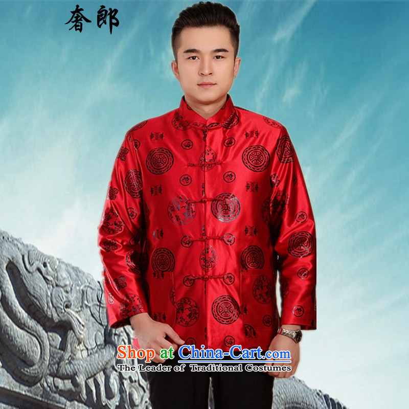 The luxury of health in autumn and winter older couples Tang Jacket coat happy wedding dress of older persons will Chinese wedding celebration for the t-shirt is too thick red male life jackets shirts men 185