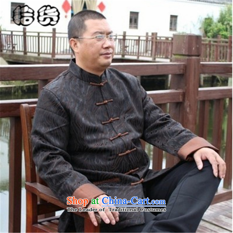 The 2015 autumn, pickup Tang blouses, older men's jackets to the spring and autumn xl long-sleeved Chinese national dress father load improved new燲XXL Brown