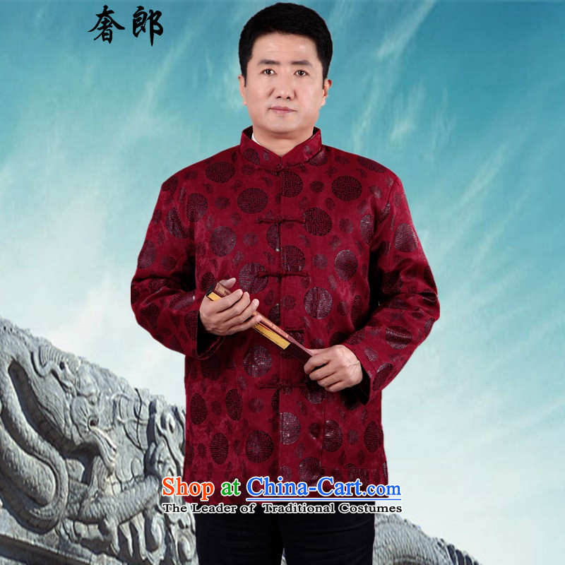 The luxury of health of older persons in the Tang Dynasty Men long-sleeved shirt Chinese middle-aged men's Han-costume father grandfather autumn jackets long sleeve jacket plus cotton Tang dynasty male grandfather燲L_175 red