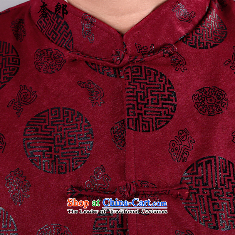 The luxury of health of older persons in the Tang Dynasty Men long-sleeved shirt Chinese middle-aged men's Han-costume father grandfather autumn jackets long sleeve jacket plus cotton Tang Dynasty Male Red XL/175, grandpa luxury health , , , shopping on t