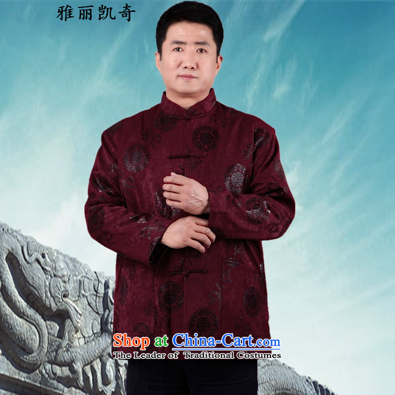 Alice Keci men Tang dynasty China wind corduroy long-sleeved jacket Chinese leisure men larger Han-elderly father replacing elderly men as well as his father 3XL_185 jacket aubergine