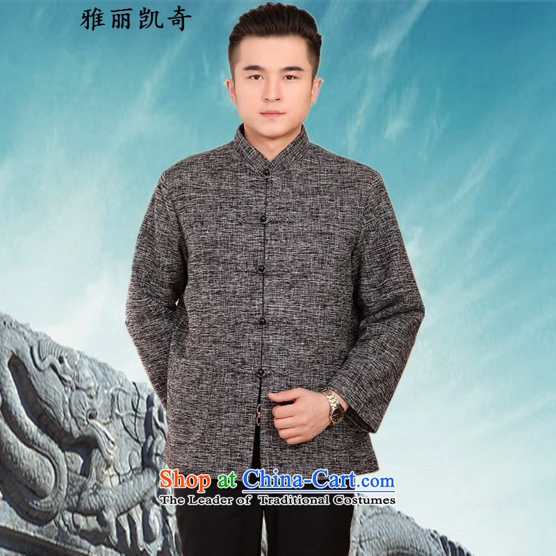 Alice Keci Chinese Tang dynasty autumn and winter collar long-sleeved men father in the national costumes of the elderly with T-shirt grandfather festive Tang dynasty men for winter clothes Ma Tei a gray 4XL_190