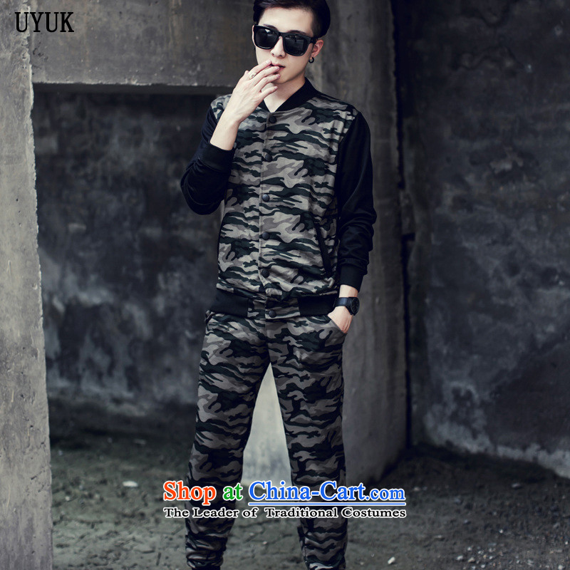 Uyuk2015 autumn and winter new Chinese tunic Korean men casual male adolescents camouflage jacket baseball men serving long-sleeved kit male and gray-colored?L