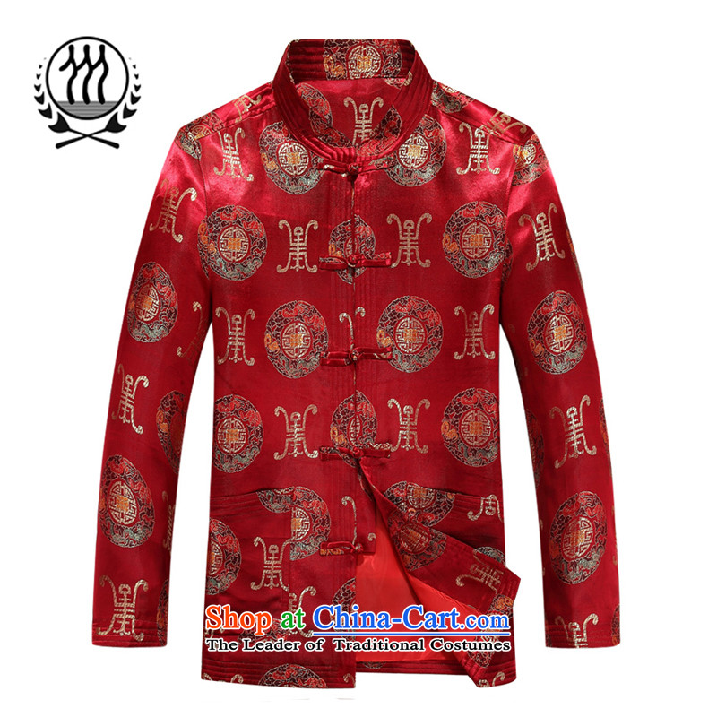 Bosnia and thre line new autumn men long-sleeved jacket Tang China wind Park Hee-Chinese Tang auspicious jackets elderly birthday birthday jacket Tang dynasty 88015聽L_175 red