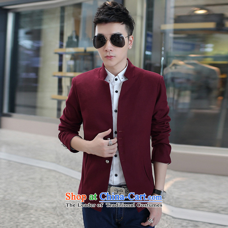 Yet the�15 autumn help new men gross Small suit coats and then Korean collar short of material? Mock-neck leisure Chinese tunic wine red燤