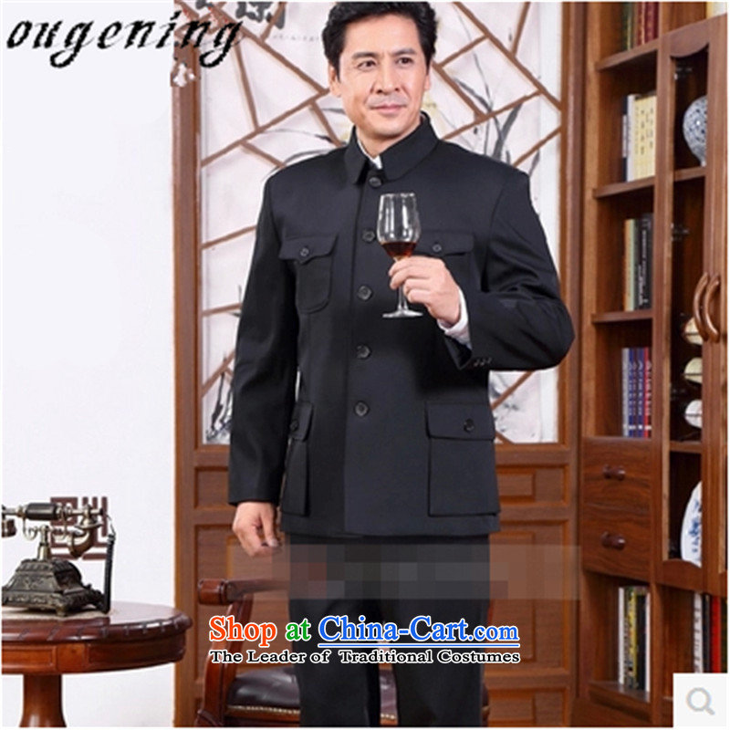 The name of the 2015 autumn of the OSCE new stylish in older Chinese tunic men older persons more than long-sleeved pocket grandpa replacing the solid color T-shirt jacket black?180/76/XXL Leisure