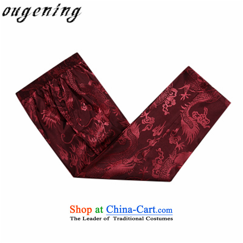 The name of the 2015 autumn of the OSCE New China wind retro. Older Tang pants thick warm casual elastic pure cotton pants grandpa chinese red 175/L, Europe (ougening lemonade Grid) , , , shopping on the Internet