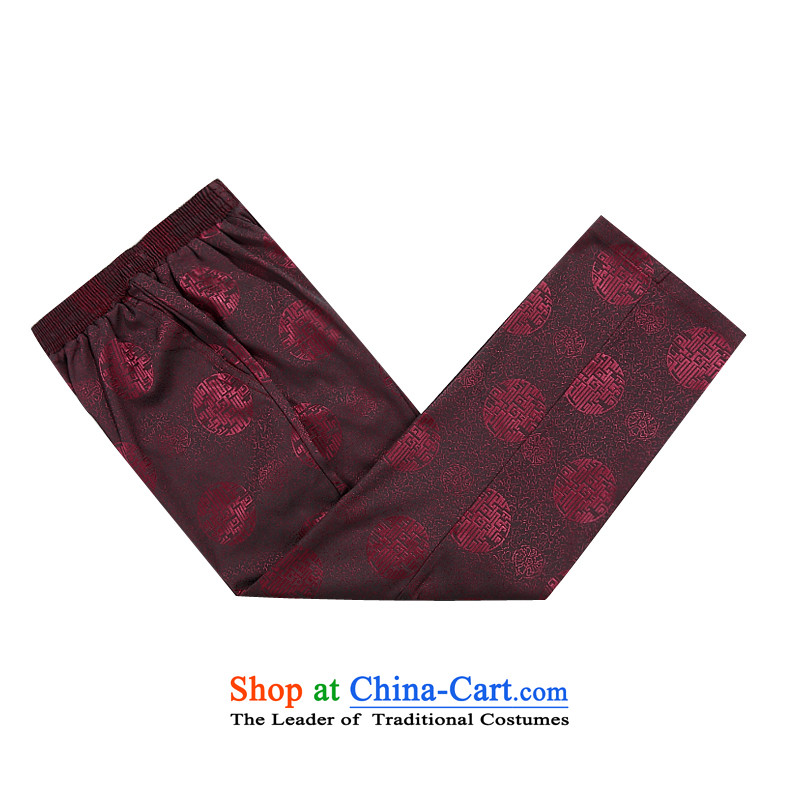 Thre line autumn and winter and genuine new men auspicious millennium plus cotton Tang Dynasty Package for older Chinese Han-Tang dynasty improved to intensify the father replacing cotton pants燤_170 aubergine