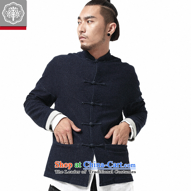 To Tree China wind men 2015 autumn and winter Tang dynasty male long-sleeved manually tray clip corduroy cowboy jacket stone 165_S Cyan