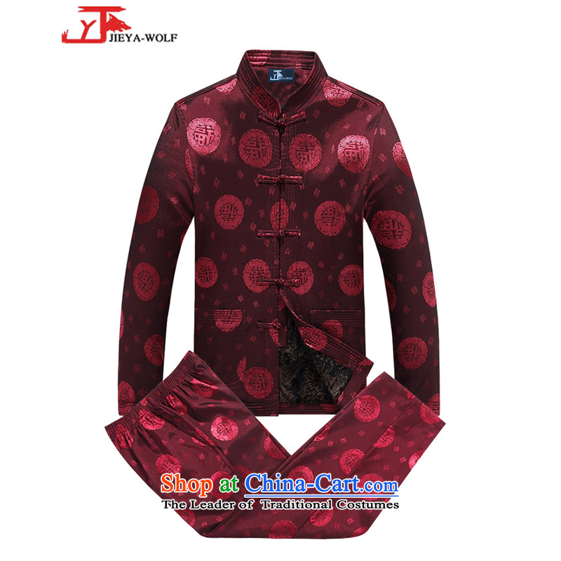 - Wolf JIEYA-WOLF, New Package Tang dynasty men's autumn and winter jackets version is smart casual jacket sheikhs wind Tai Chi Kit red A�0_M