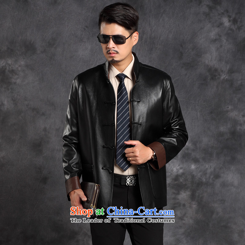 Move wing prince male leather garments in the Tang dynasty older leather jacket Men's Mock-Neck business and leisure Chinese Disc detained with single tang, black leather jacket聽4XL