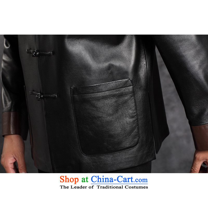 Move wing prince male leather garments in the Tang dynasty older leather jacket Men's Mock-Neck business and leisure Chinese Disc detained with single tang, black leather garments聽to wing , , , Prince 4XL, shopping on the Internet