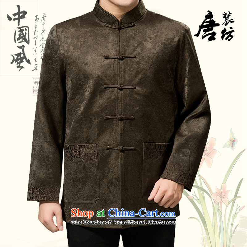 Mr Tang Dynasty poem federation men in the countrysides elderly men Tang jackets 2015 winter folder manually loaded disc cotton short clip Chinese Tang dynasty collar national costumes deep coffee 170