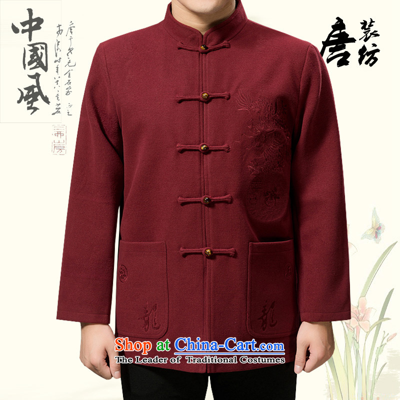 Federal Tang Dynasty poem Bob wool coat in the elderly men Tang jackets 2015 winter thick Tang hand disk detained Chinese Tang dynasty? gross national costumes Violet?170