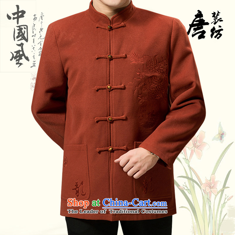 Federal Tang Dynasty poem Bob wool coat in the elderly men Tang jackets 2015 winter thick hair? Tang hand-held a mock-neck Tang Dynasty Chinese national costumes leather red?190