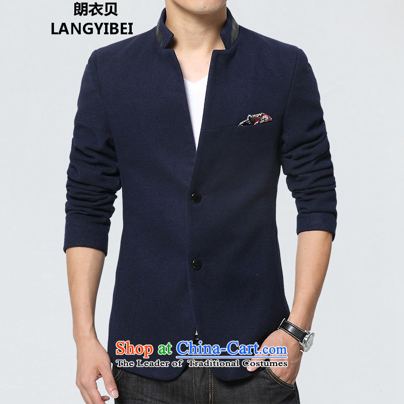 Dan JIE SHI JIE SHI _DAN_ 2015 autumn and winter Chinese tunic suit the new Small Business suit male Sau San Korean male Chinese tunic jacket blue casual聽L