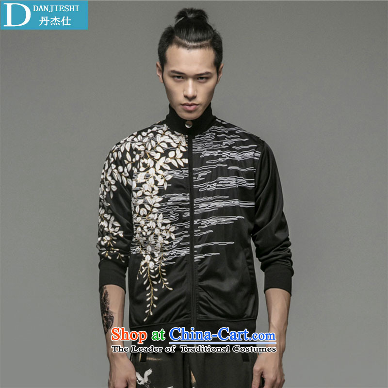 Dan Jie Shi China Wind Jacket retro China wind embroidery men long-sleeved jacket map color聽175 Chinese