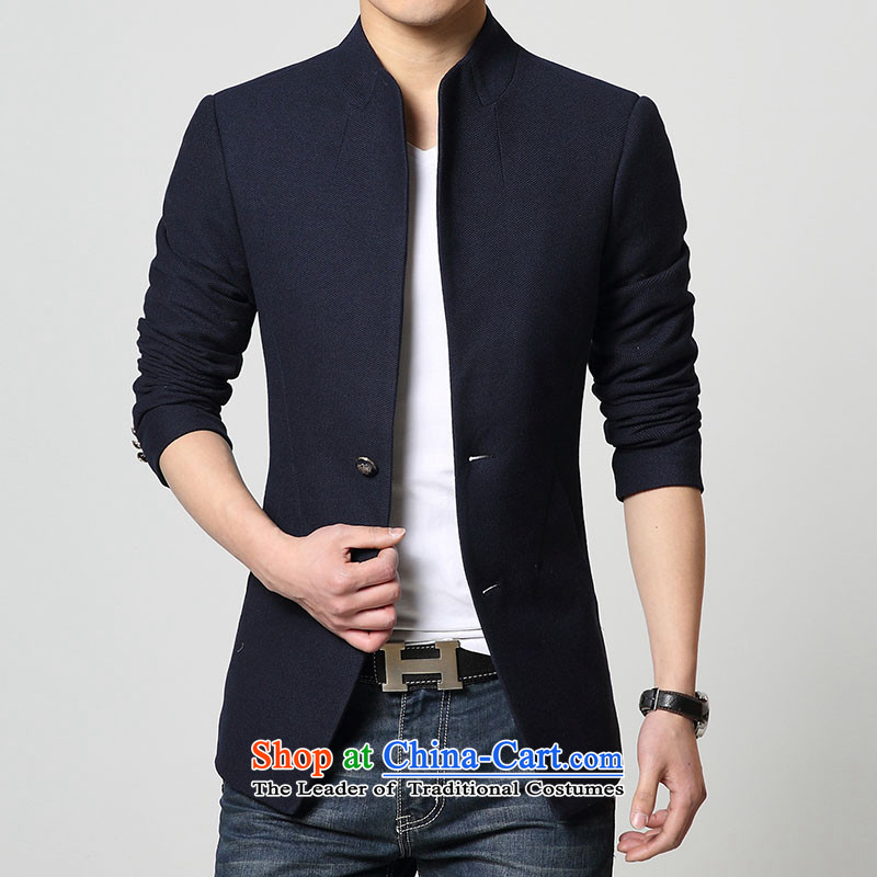 Mrs Rafael Hui Carter, 2015 autumn and winter new stylish China wind leisure. Long stand collar single row detained men jacket Chinese tunic men�L Blue Jacket