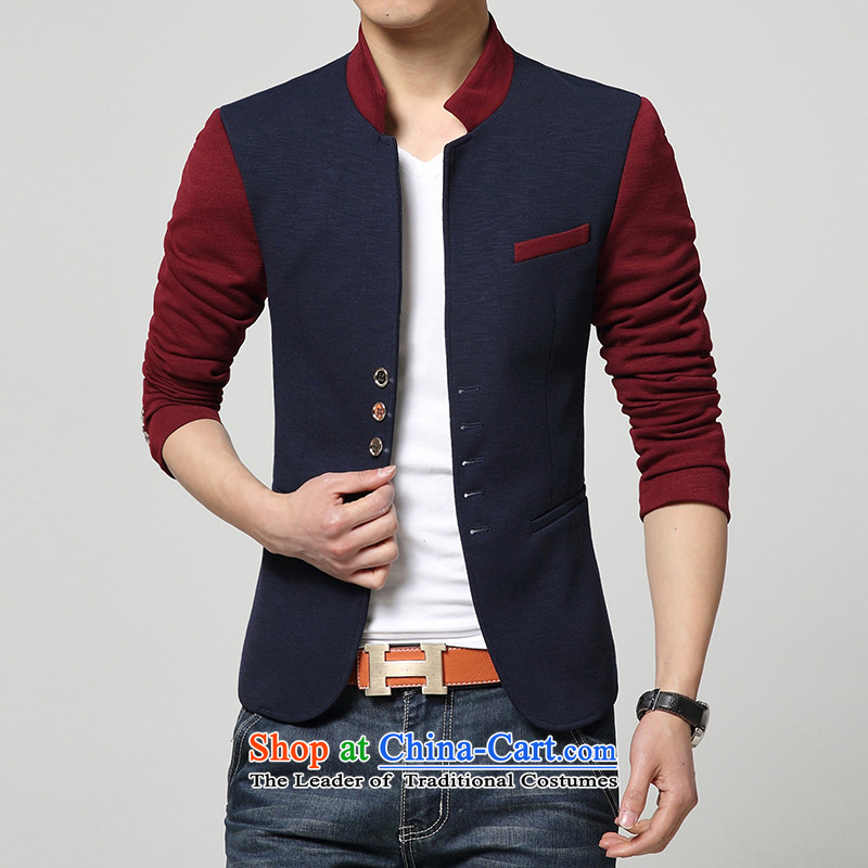 Happy Times fall new design stitching Men's Mock-Neck Chinese tunic male Korean Sau San Tong replacing small business suit male business leisure suit Chinese tunic聽175_XL_ blue
