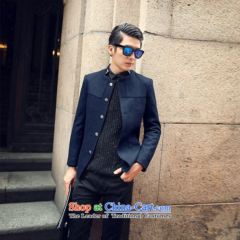 Happy Times 2014 autumn and winter new men men Korean leisure jacket collar wool a Sau San Chinese tunic dark blue燣