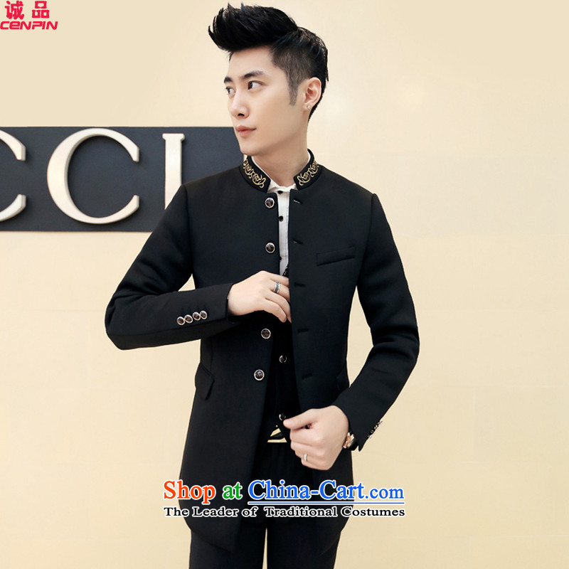 ?2015 Autumn and Winter Eslite New Chinese tunic collar jacket Korean fashion Sau San Men's Jackets DY04 black?48