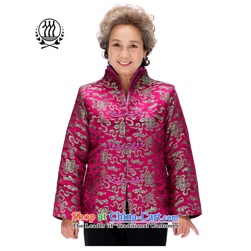 Thre line autumn and winter and the new president brocade coverlets Tang jackets national wind in older Mock-neck Tang dynasty retro suit President Tang blouses F0858 purple winter_ Women XL