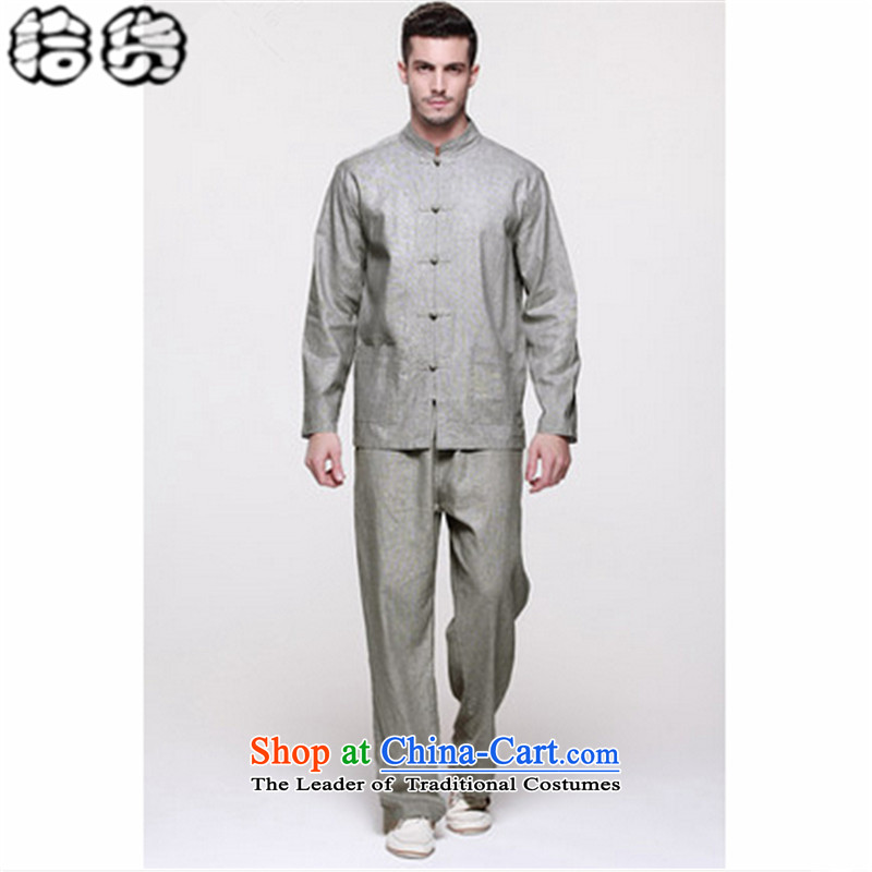 The 2015 autumn pick the new large retro men Tang dynasty China wind kit long-sleeved shirt jacket minimalist pant ball-han-Service Commission 42-180 Gray