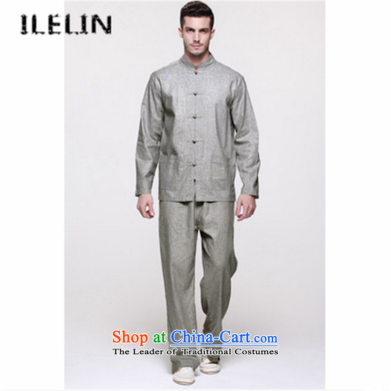 The fall of the new China ILELIN2015 wind linen men Tang dynasty long-sleeved shirt jacket retro improved Han-kit two gray�_170 Ma Tei
